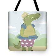 Alligator On The Beach Tote Bag