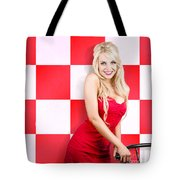 Alluring Long Haired Blonde Beauty In Retro Cafe Tote Bag