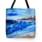 Alone By The Sea Abstract Seascape Tote Bag