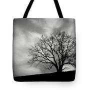 Alone On A Hill In Black And White Tote Bag