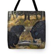 Along An Autumn Path - Black Bear With Cubs Tote Bag