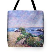 Along The Breachway Rhode Island Tote Bag