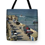 Along The South Pier - Newquay Harbour Tote Bag