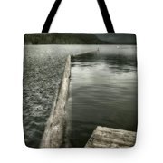 Along The Washington Coast - Dock, Breakwater, And Mountains Tote Bag
