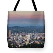 Alpenglow Over Portland Oregon Cityscape Tote Bag
