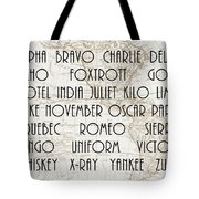 Alpha Bravo Charlie Tote Bag
