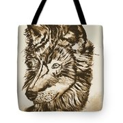 Alpha Male - The Wolf - Antiqued Tote Bag