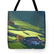 Alpine Farm And Meadows In Autumn Tote Bag