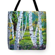 Alpine Flowers And Birches  Tote Bag