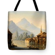Alpine Lake Scenery With City View Tote Bag