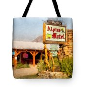 Alpine Motel Vintage Roadside Oasis Yellowstone Tote Bag