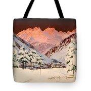 Alpine Mountain Scene Tote Bag
