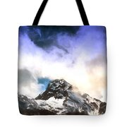 Alpine Mountains And Clouds Watercolour Tote Bag