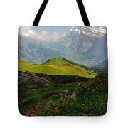 Alpine Roses In Foreground Tote Bag