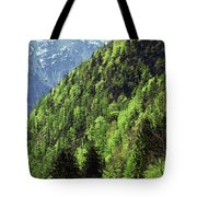 Alpine View In Green Tote Bag