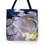 Aluminum Print, Koi Fish Print On Metal. Fish Art - Yellow - Blue - Green 3d Painting Of Koi Fish, A Tote Bag