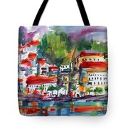 Amalfi Coast Italy Expressive Watercolor Tote Bag by Ginette Callaway