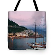 Amalfi Harbor Sunset Tote Bag