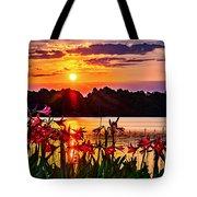 Amaryllis At Sunrise Over Lake Tote Bag