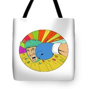Amateur Boxer Hit By Glove Punch Oval Drawing Tote Bag