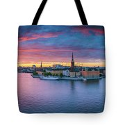 Dramatic Sunset Over Stockholm Tote Bag