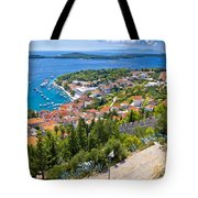 Amazing Historic Town Of Hvar Aerial View Tote Bag