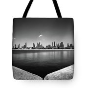 Amazing Panorama Reflection Of Dubai Jumeirah Beach, Dubai, United Arab Emirates Tote Bag