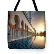Amazing Sunset View At Mosque, Abu Dhabi, United Arab Emirates Tote Bag