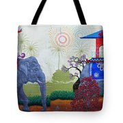 Amazing Wall Art Painting Or Elephants Tote Bag
