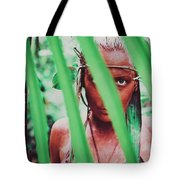 Amazonian Goddess Portrait Of A Wild Looking, Camouflaged Warrior Girl Holding Bow And Arrow Tote Bag