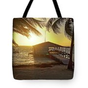 Ambergris Cayr Sunrise Palm Trees San Pedro Belize Tote Bag