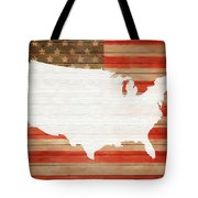 America Rustic Map On Wood Tote Bag