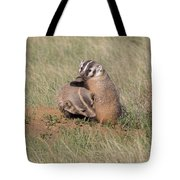 American Badger Cub Climbs On Its Mother Tote Bag