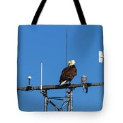 American Bald Eagle Perched On Communication Tower Tote Bag