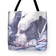 American Bulldog Christmas Tote Bag