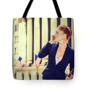 American Businesswoman Working In New York Tote Bag
