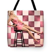 American Culture Pin Up Girl Inside 60s Retro Diner Tote Bag