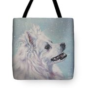 American Eskimo Dog In Snow Tote Bag