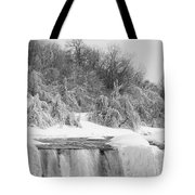 American Falls In Winter In Black And White Tote Bag