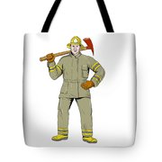 American Firefighter Fire Axe Drawing Tote Bag