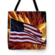 American Flag And Fireworks Tote Bag
