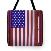 American Flag In Red Window Tote Bag