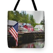 American Flag On Creek Street Ketchikan Alaska Tote Bag