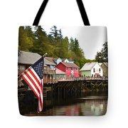 American Flag On Creek Street Ketchikan Alaska Painting Tote Bag