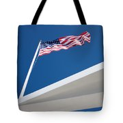 American Flag Over Pearl Harbor Tote Bag