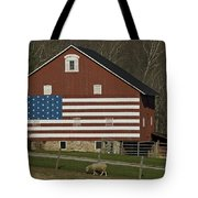 American Flag Painted On The Side Tote Bag