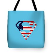 American Flag Superman Shield Tote Bag by Bill Cannon