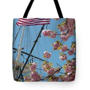 American Flag With Cherry Blossoms Tote Bag