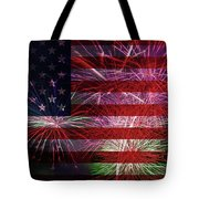 American Flag With Fireworks Display Tote Bag