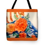American Flag With Red Roses Tote Bag